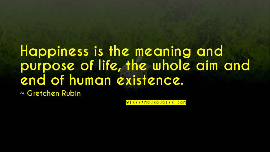 Purpose Of Human Life Quotes By Gretchen Rubin: Happiness is the meaning and purpose of life,