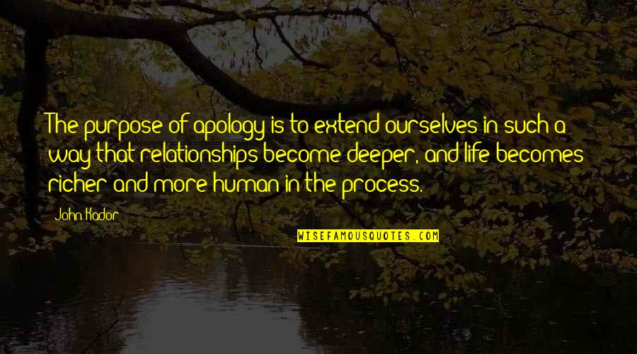 Purpose Of Human Life Quotes By John Kador: The purpose of apology is to extend ourselves