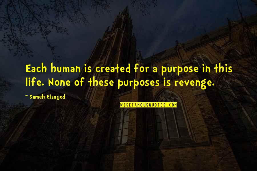 Purpose Of Human Life Quotes By Sameh Elsayed: Each human is created for a purpose in