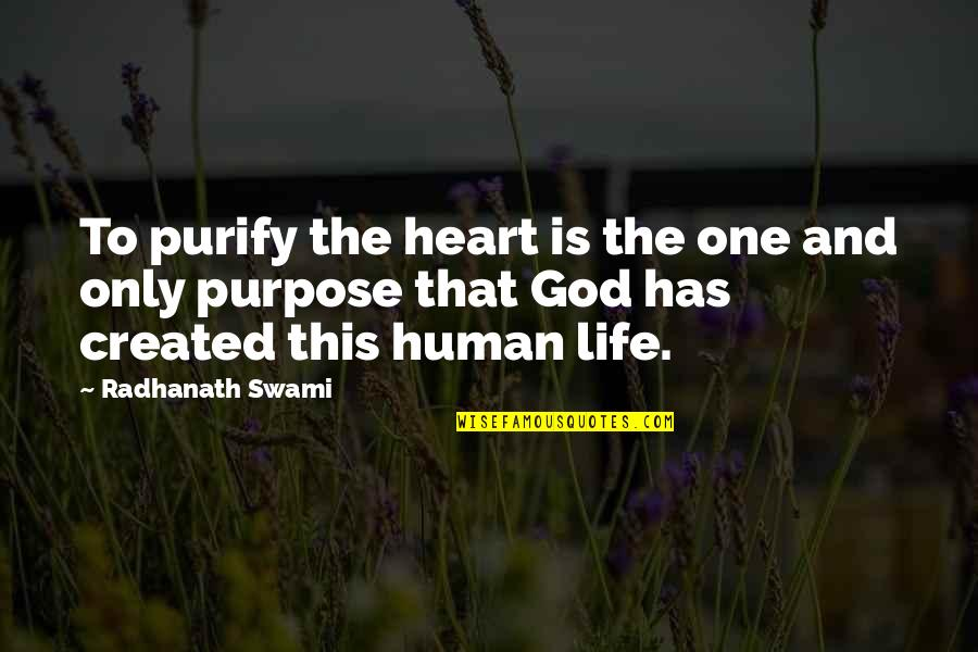 Purpose To Life Quotes By Radhanath Swami: To purify the heart is the one and