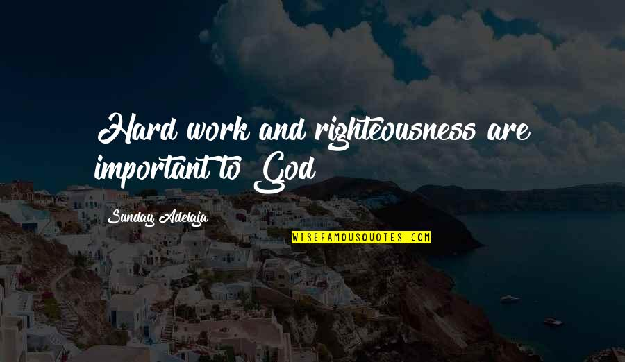 Purpose To Life Quotes By Sunday Adelaja: Hard work and righteousness are important to God