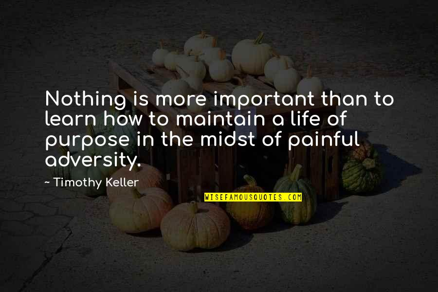 Purpose To Life Quotes By Timothy Keller: Nothing is more important than to learn how