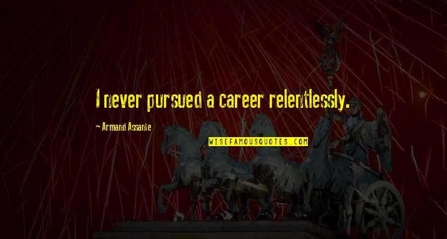 Pursued Quotes By Armand Assante: I never pursued a career relentlessly.