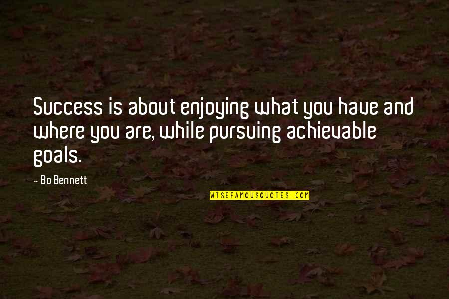 Pursuing Your Goals Quotes By Bo Bennett: Success is about enjoying what you have and