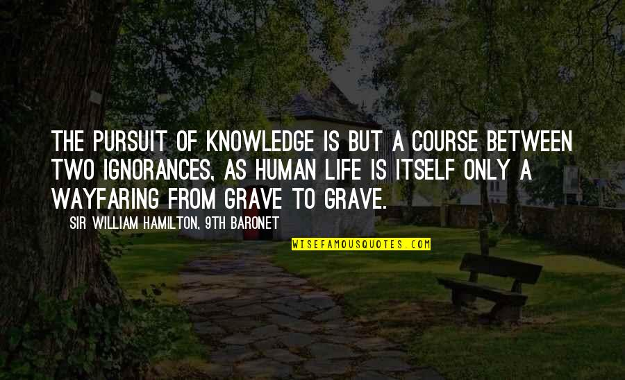 Pursuit Of Knowledge Quotes By Sir William Hamilton, 9th Baronet: The pursuit of knowledge is but a course