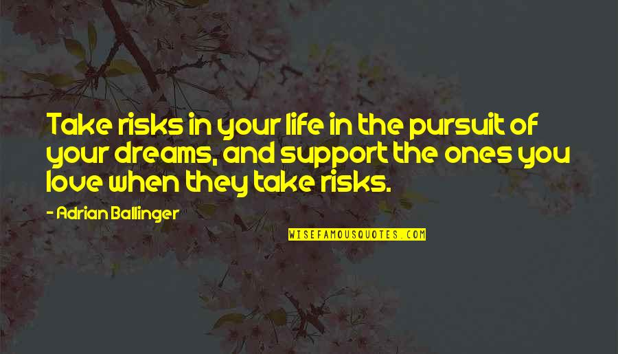 Pursuit Your Dreams Quotes By Adrian Ballinger: Take risks in your life in the pursuit
