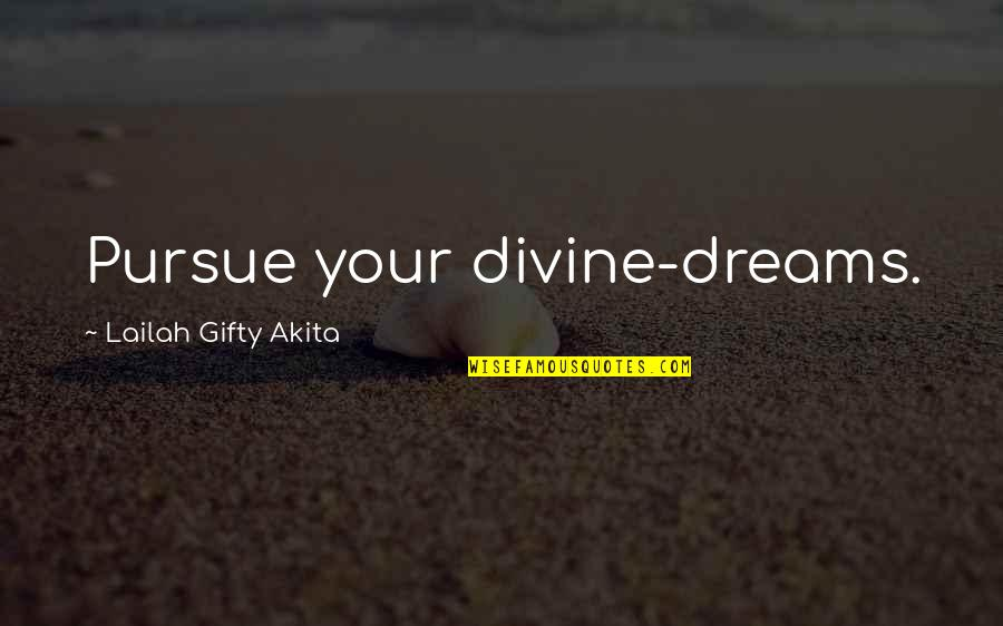 Pursuit Your Dreams Quotes By Lailah Gifty Akita: Pursue your divine-dreams.