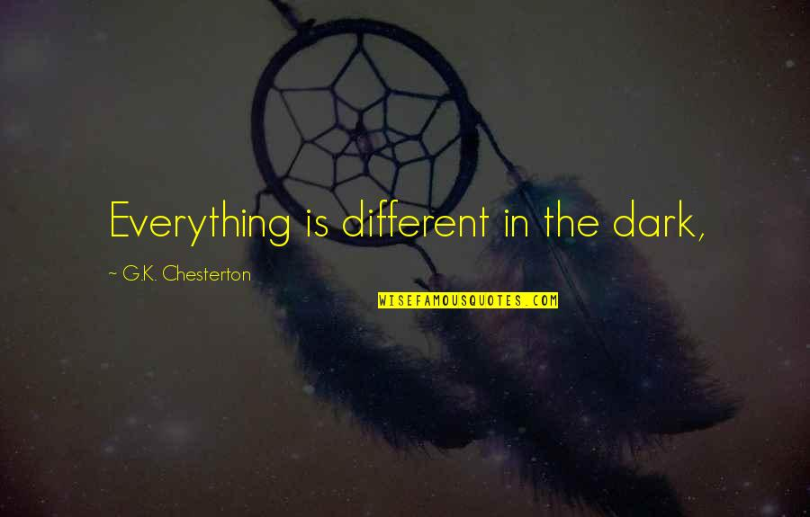Pushing Away Someone Quotes By G.K. Chesterton: Everything is different in the dark,