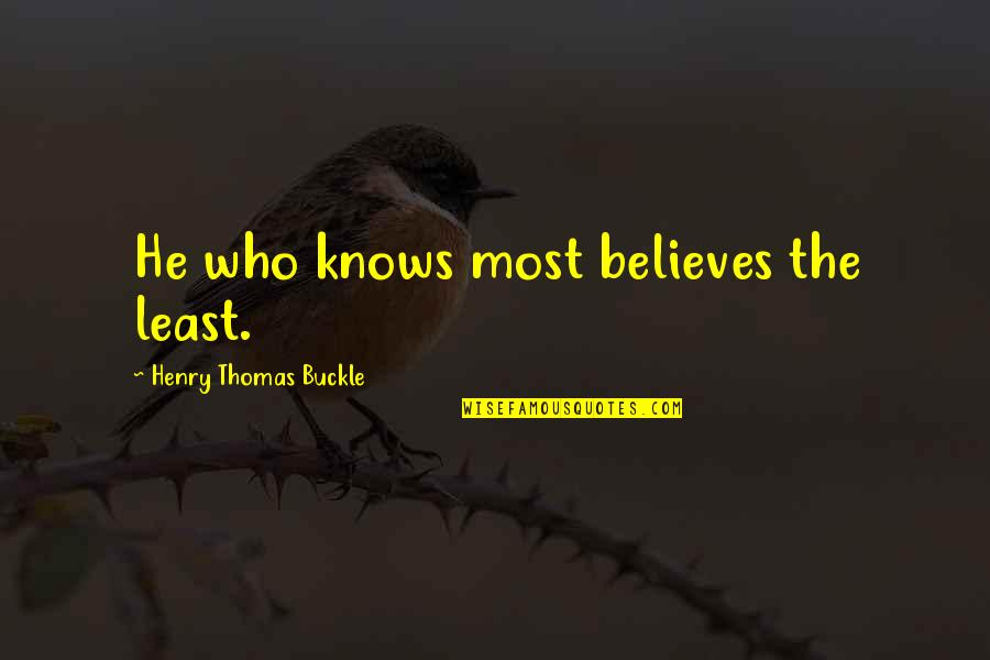 Pyar Karne Wale Quotes By Henry Thomas Buckle: He who knows most believes the least.