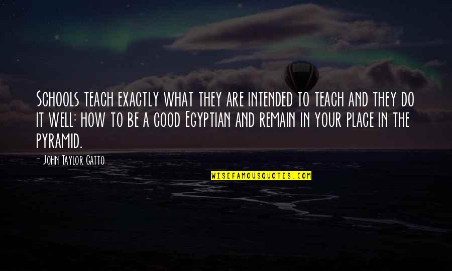 Pyramid Quotes By John Taylor Gatto: Schools teach exactly what they are intended to