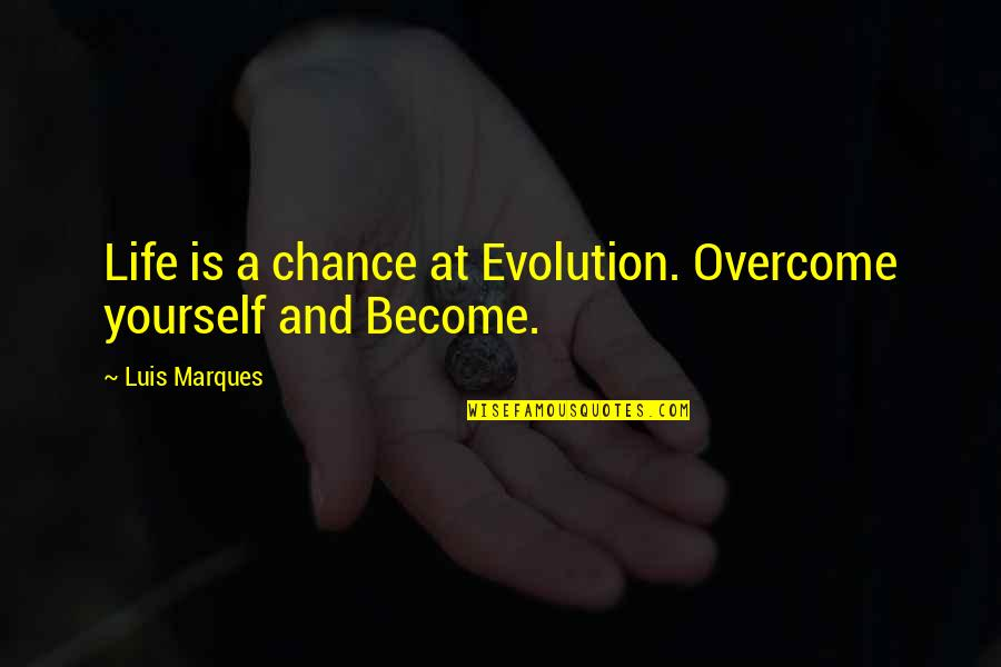 Pyramid Quotes By Luis Marques: Life is a chance at Evolution. Overcome yourself