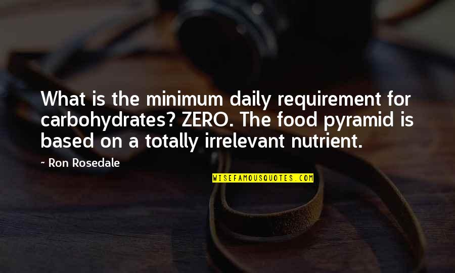 Pyramid Quotes By Ron Rosedale: What is the minimum daily requirement for carbohydrates?