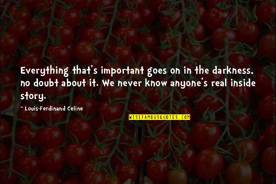 Python Encode Double Quotes By Louis-Ferdinand Celine: Everything that's important goes on in the darkness,