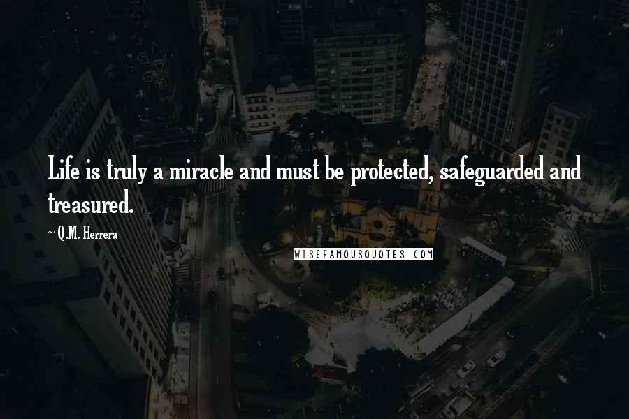 Q.M. Herrera quotes: Life is truly a miracle and must be protected, safeguarded and treasured.
