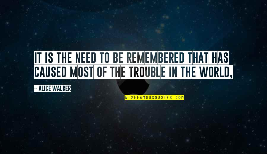 Qaiser Abbas Quotes By Alice Walker: It is the need to be remembered that
