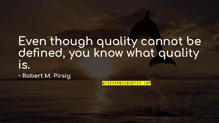 Quality Pirsig Quotes By Robert M. Pirsig: Even though quality cannot be defined, you know