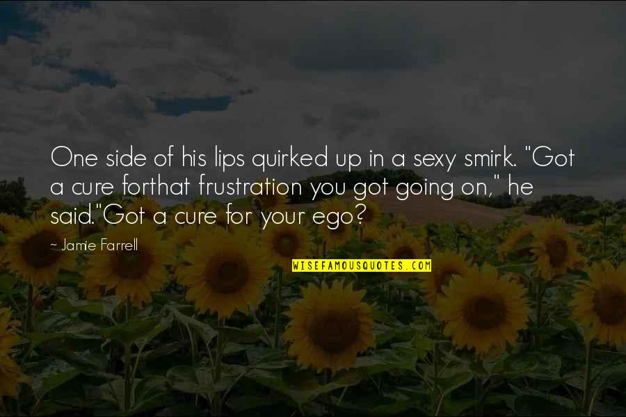 Quirked Quotes By Jamie Farrell: One side of his lips quirked up in