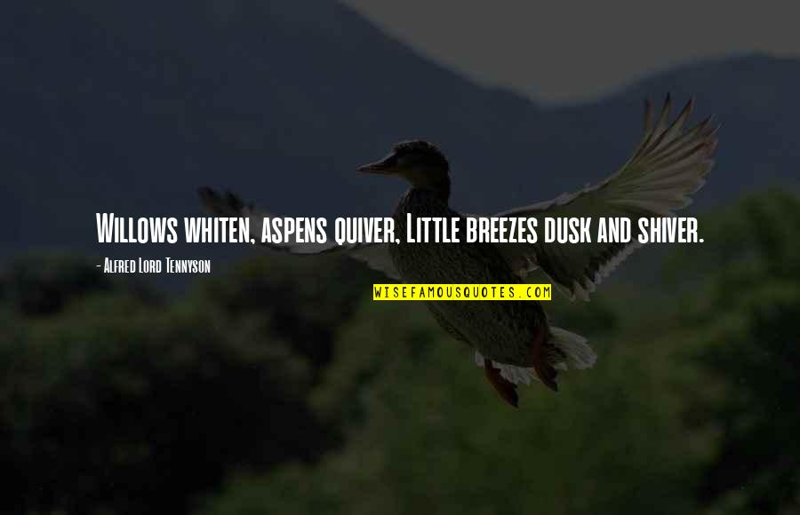 Quiver'd Quotes By Alfred Lord Tennyson: Willows whiten, aspens quiver, Little breezes dusk and