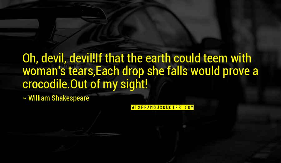 Quizzes Movie Quotes By William Shakespeare: Oh, devil, devil!If that the earth could teem