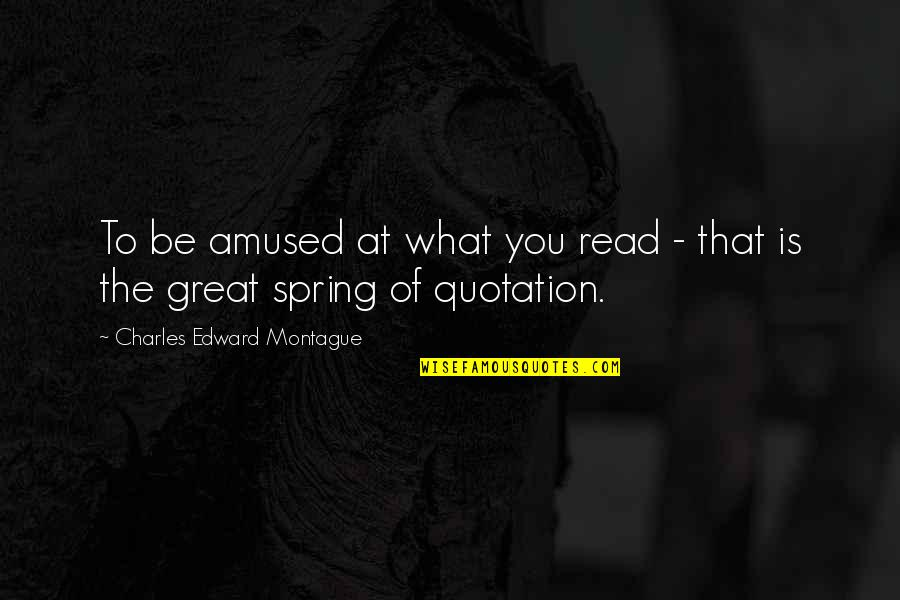 Quotation Within Quotes By Charles Edward Montague: To be amused at what you read -