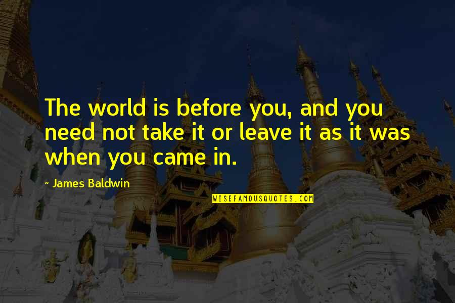 Quotes Baldwin Quotes By James Baldwin: The world is before you, and you need