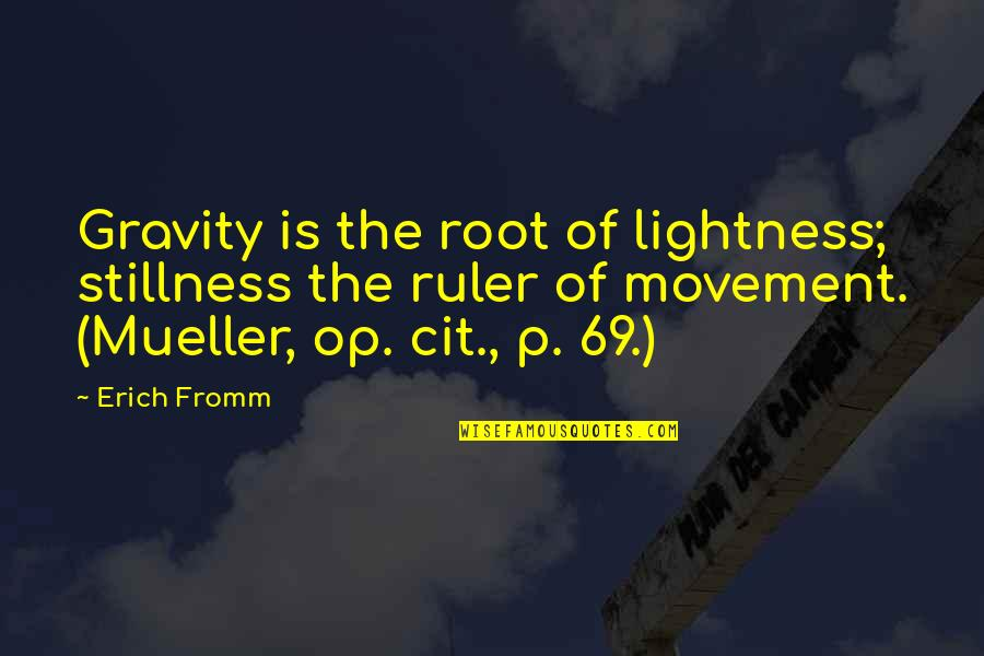 Quotes Bikini Kill Quotes By Erich Fromm: Gravity is the root of lightness; stillness the
