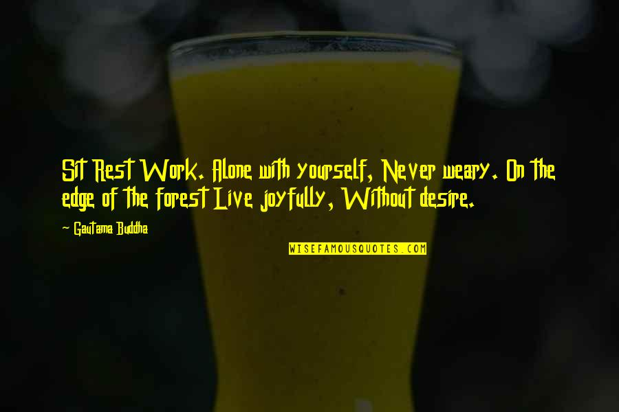 Quotes Sao Quotes By Gautama Buddha: Sit Rest Work. Alone with yourself, Never weary.