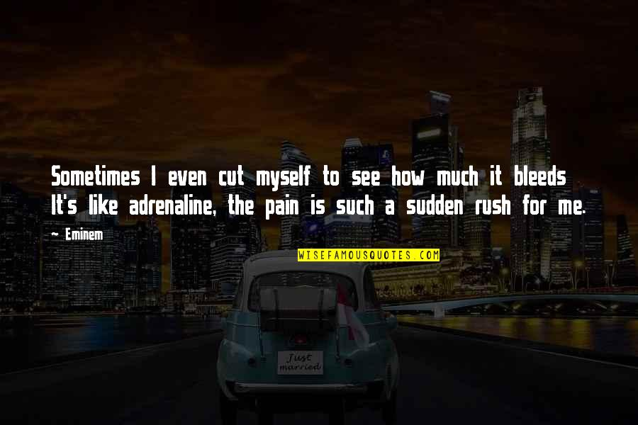Quotes Soleil Quotes By Eminem: Sometimes I even cut myself to see how