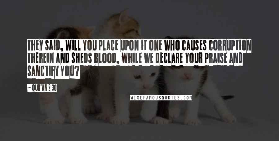 Qur'an 2 30 quotes: They said, Will You place upon it one who causes corruption therein and sheds blood, while we declare Your praise and sanctify You?