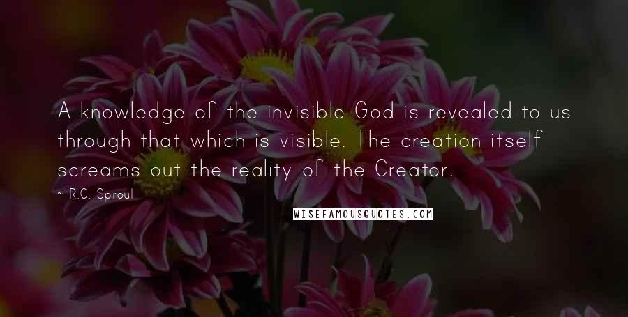 R.C. Sproul quotes: A knowledge of the invisible God is revealed to us through that which is visible. The creation itself screams out the reality of the Creator.
