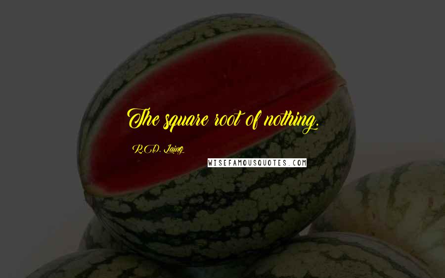 R.D. Laing quotes: The square root of nothing.