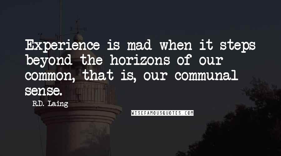 R.D. Laing quotes: Experience is mad when it steps beyond the horizons of our common, that is, our communal sense.