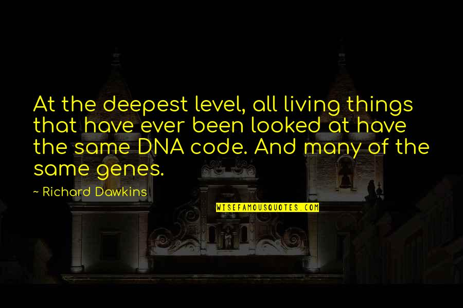R Dawkins Quotes By Richard Dawkins: At the deepest level, all living things that