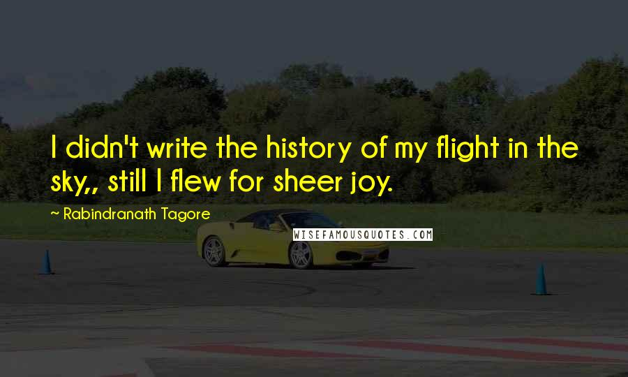 Rabindranath Tagore quotes: I didn't write the history of my flight in the sky,, still I flew for sheer joy.