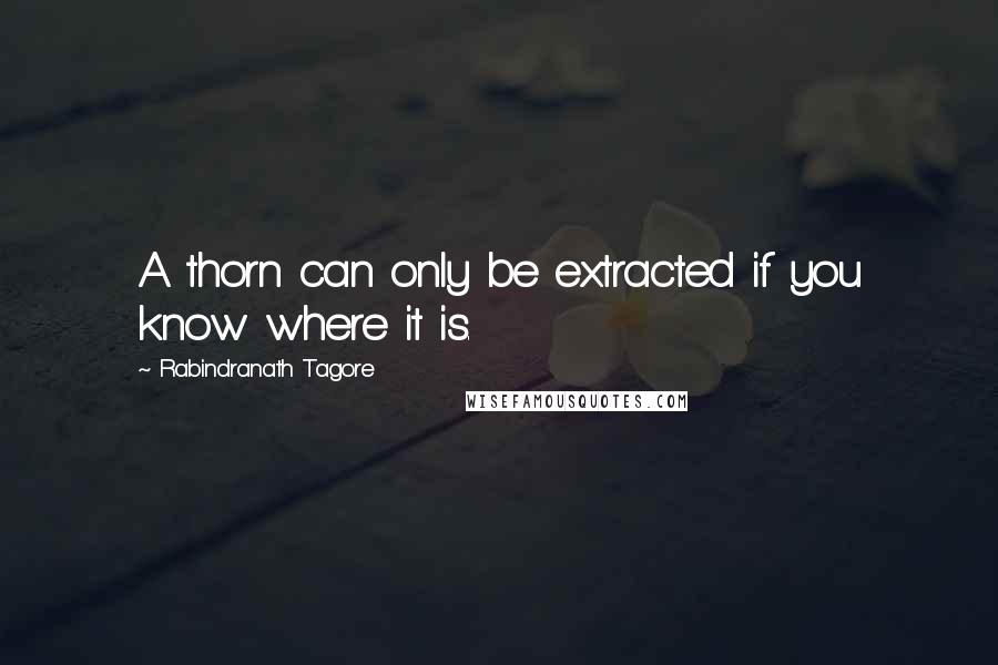 Rabindranath Tagore quotes: A thorn can only be extracted if you know where it is.