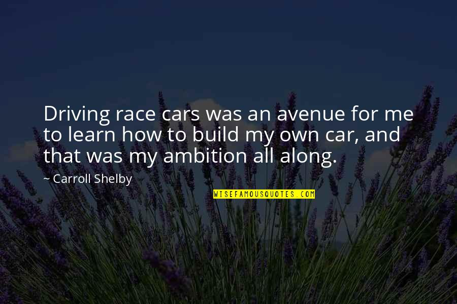 Race Car Quotes By Carroll Shelby: Driving race cars was an avenue for me
