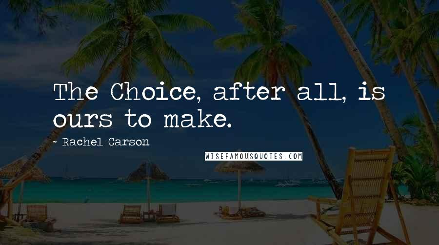 Rachel Carson quotes: The Choice, after all, is ours to make.