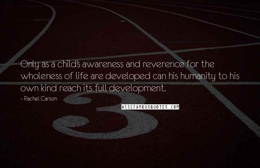 Rachel Carson quotes: Only as a child's awareness and reverence for the wholeness of life are developed can his humanity to his own kind reach its full development.
