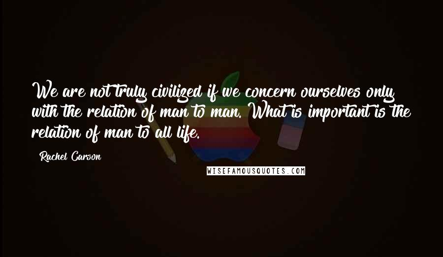 Rachel Carson quotes: We are not truly civilized if we concern ourselves only with the relation of man to man. What is important is the relation of man to all life.