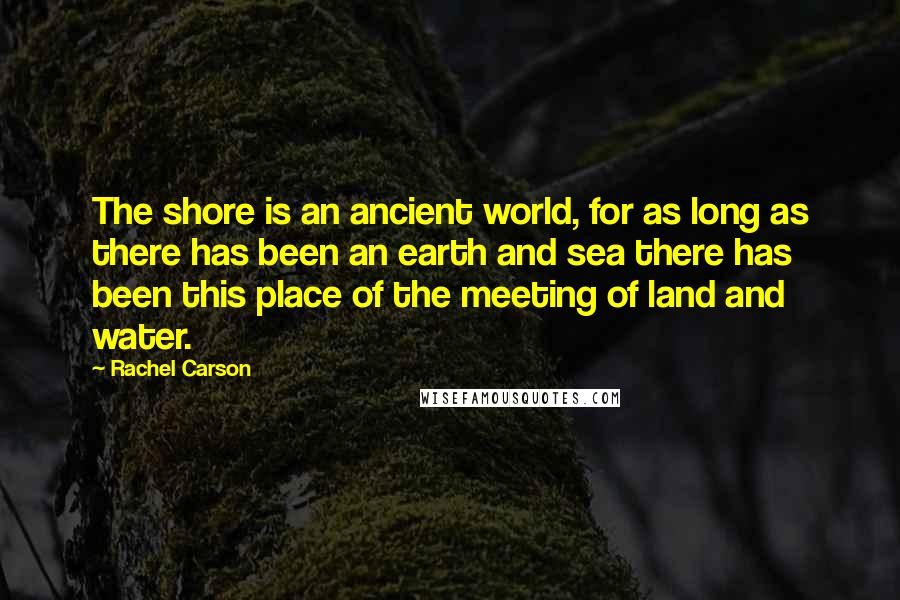 Rachel Carson quotes: The shore is an ancient world, for as long as there has been an earth and sea there has been this place of the meeting of land and water.