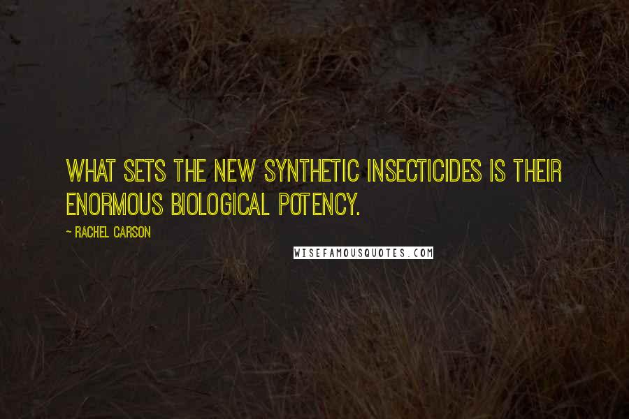 Rachel Carson quotes: What sets the new synthetic insecticides is their enormous biological potency.