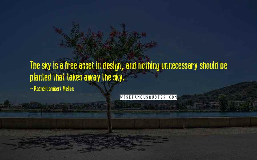 Rachel Lambert Mellon quotes: The sky is a free asset in design, and nothing unnecessary should be planted that takes away the sky.