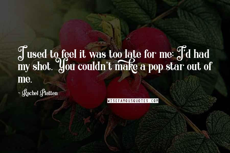 Rachel Platten quotes: I used to feel it was too late for me; I'd had my shot. You couldn't make a pop star out of me.