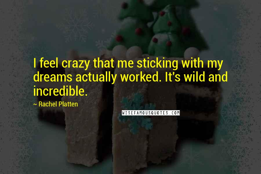 Rachel Platten quotes: I feel crazy that me sticking with my dreams actually worked. It's wild and incredible.