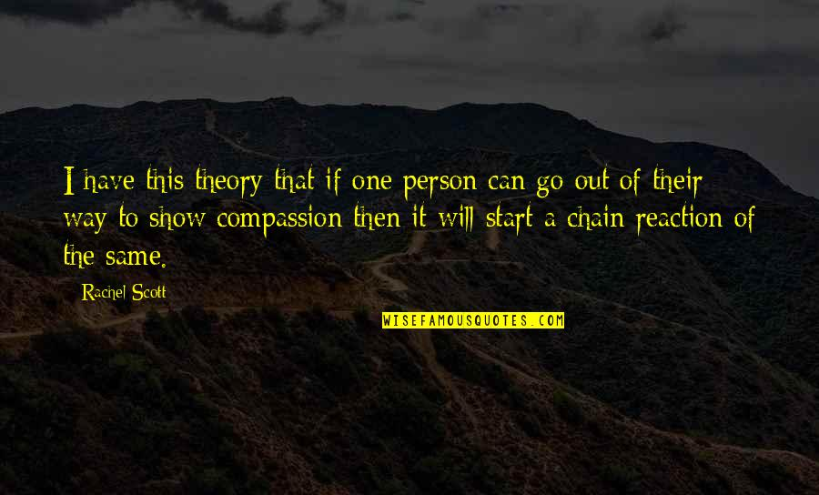 Rachel Scott Quotes By Rachel Scott: I have this theory that if one person