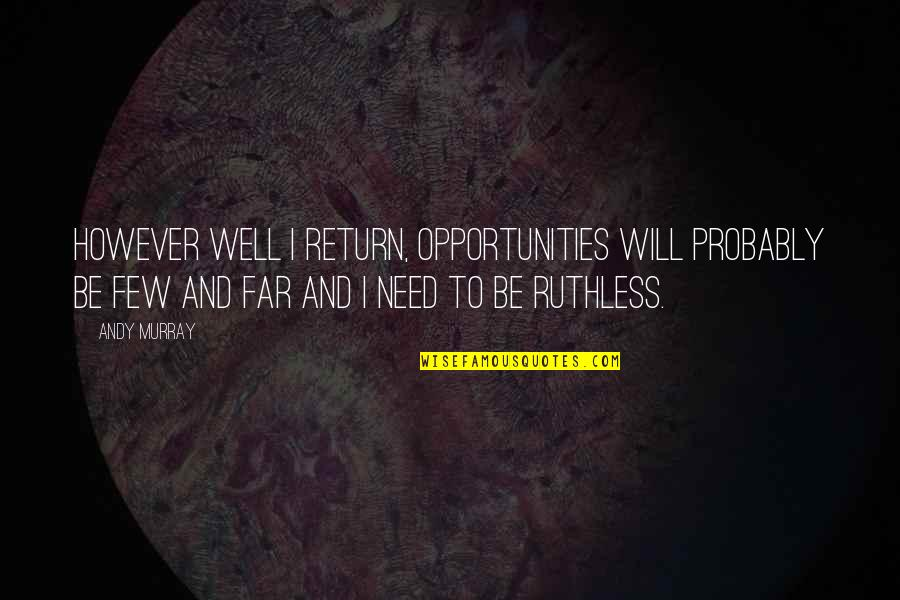 Racialized Quotes By Andy Murray: However well I return, opportunities will probably be
