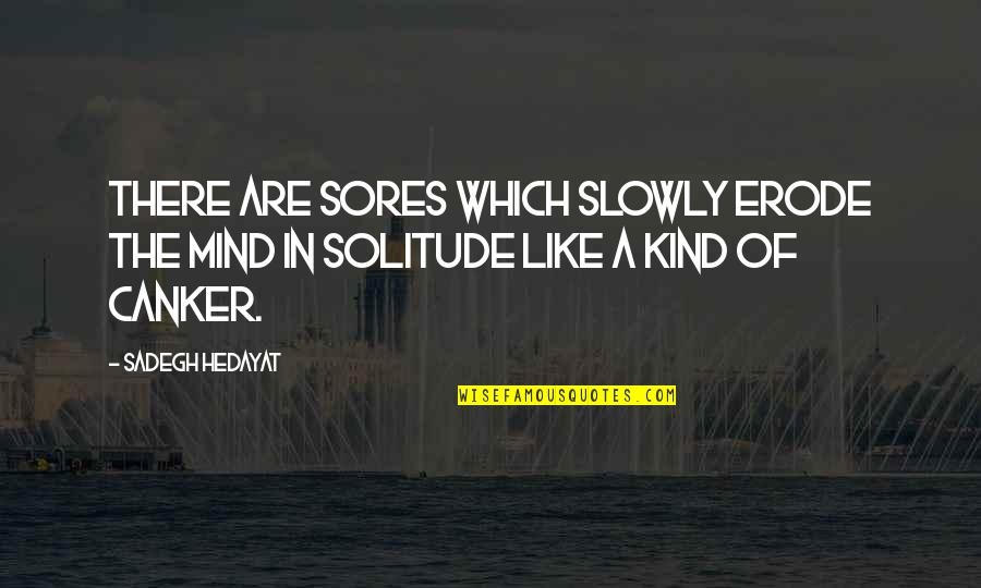 Racialized Quotes By Sadegh Hedayat: There are sores which slowly erode the mind