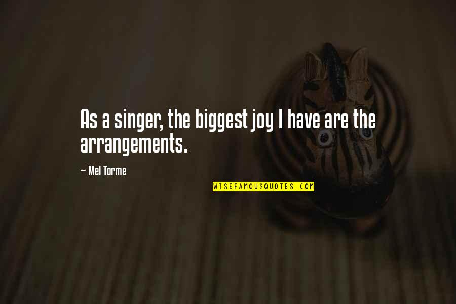Ractopamine Quotes By Mel Torme: As a singer, the biggest joy I have