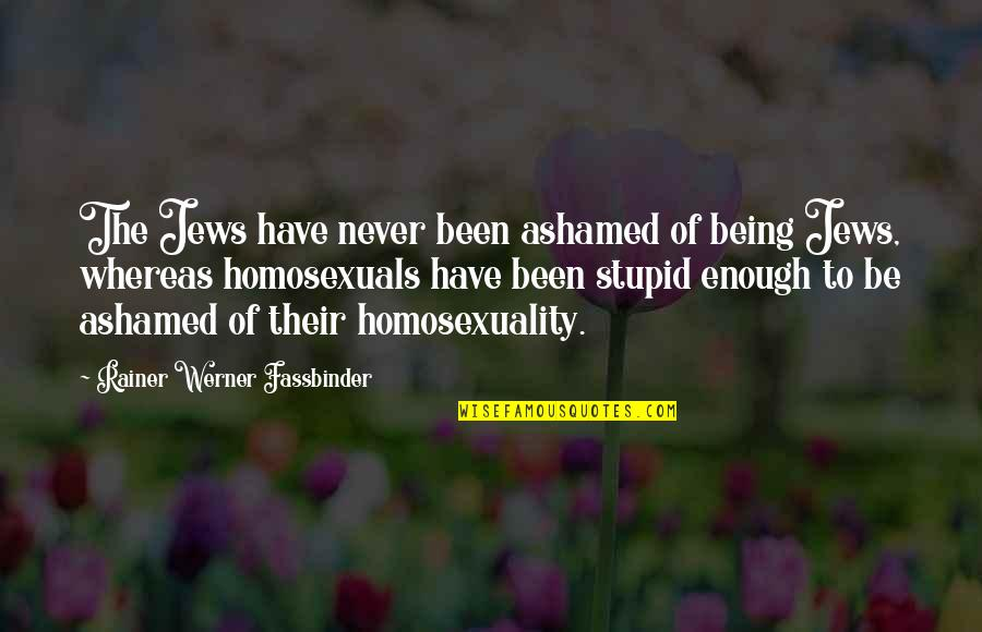 Rafael Barba Quotes By Rainer Werner Fassbinder: The Jews have never been ashamed of being