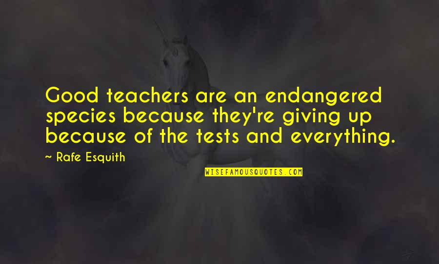 Rafe Quotes By Rafe Esquith: Good teachers are an endangered species because they're